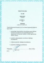 ESTONIAN MARITIME ADMINISTRATION APPROVAL PAGE 1