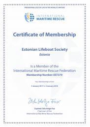 International Maritime Rescue Federation membership certificate