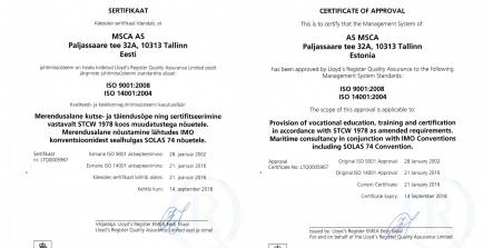ISO9001 ja ISO14001 juhtimissüsteemide audit oli edukas !