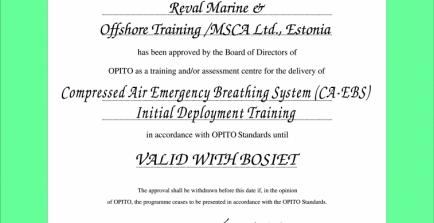 CA - EBS õppe tunnustus OPITO-lt
